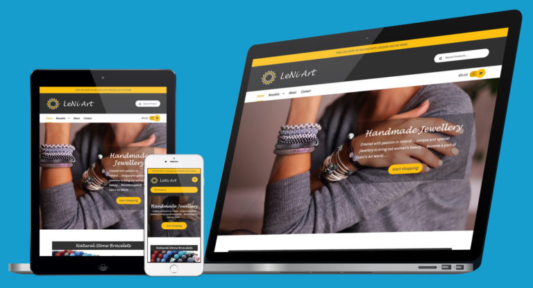 Responsive website presented on laptop, tablet and phone